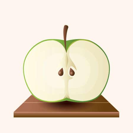 green apple slice: green apple Illustration