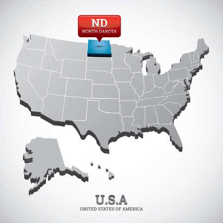 north dakota: north dakota state on the map of usa Illustration
