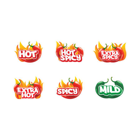 mild: set of hot chili icons