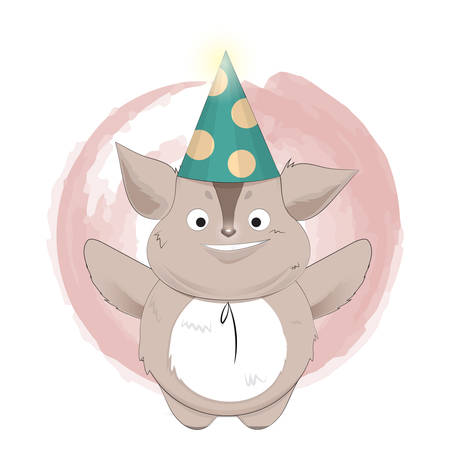 creature: happy creature cartoon with party hat Illustration