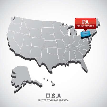 pennsylvania: pennsylvania state on the map of usa Illustration