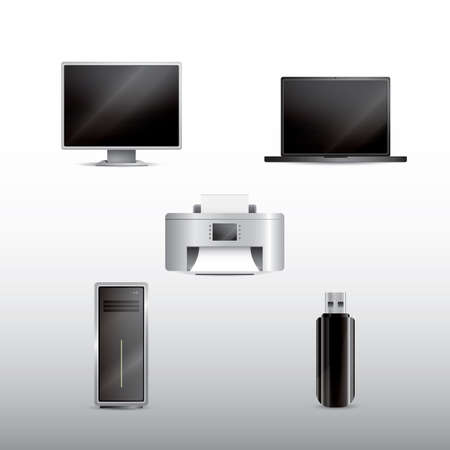 memory drive: set of computer icons Illustration
