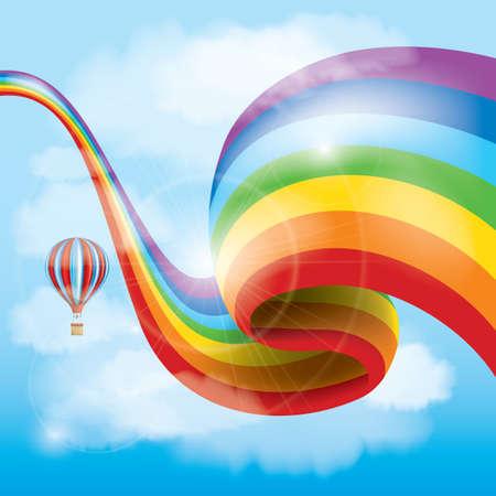 rainbow: rainbow with hot air balloon Illustration
