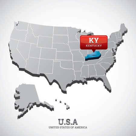 kentucky: kentucky state on the map of usa