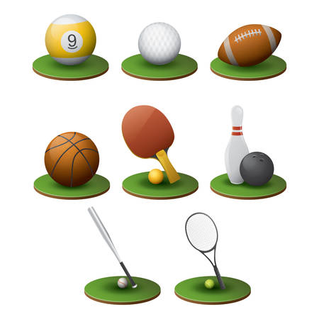 sports equipment: set of sports equipment