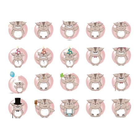 creature: set of cute creature icons