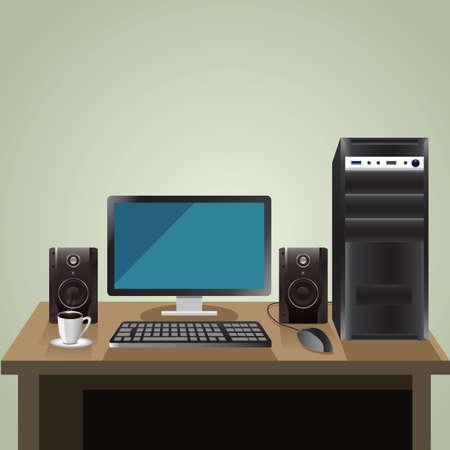 speakers desk: computer desk