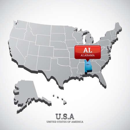 alabama state: alabama state on the map of usa