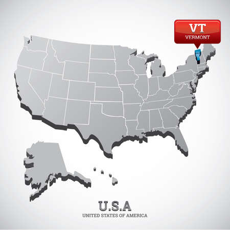 Vermont State Map Stock Vector Illustration And Royalty Free - Map of usa vermont