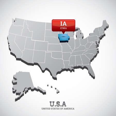 iowa: iowa state on the map of usa Illustration