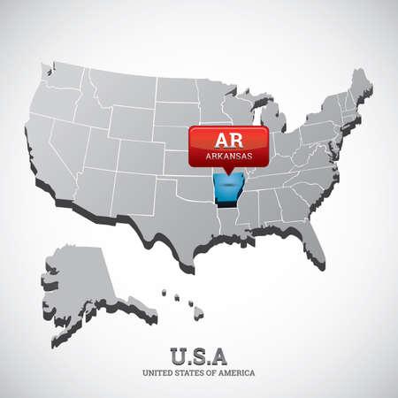 arkansas: arkansas state on the map of usa Illustration