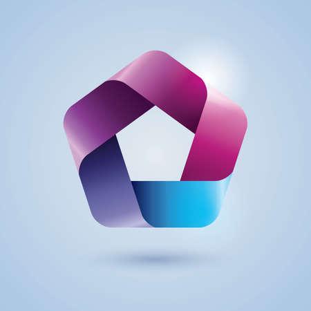 pentagon: pentagon ribbon icon