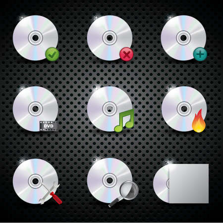 discs: set of compact discs with signs Illustration