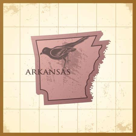 ruiseñor: Mapa del estado de Arkansas Vectores