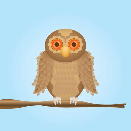 perched: owl perched on stem Illustration