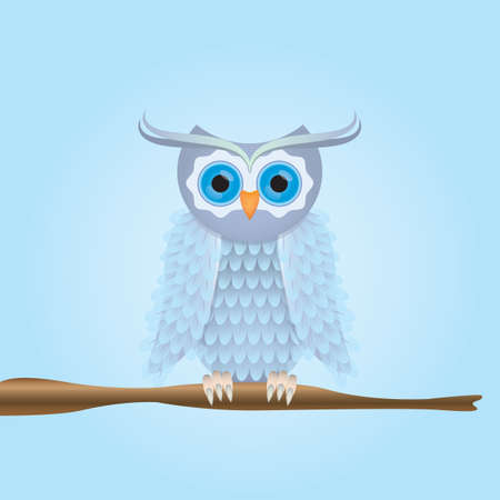 perch: owl perched on stem Illustration