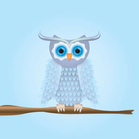 stem: owl perched on stem Illustration
