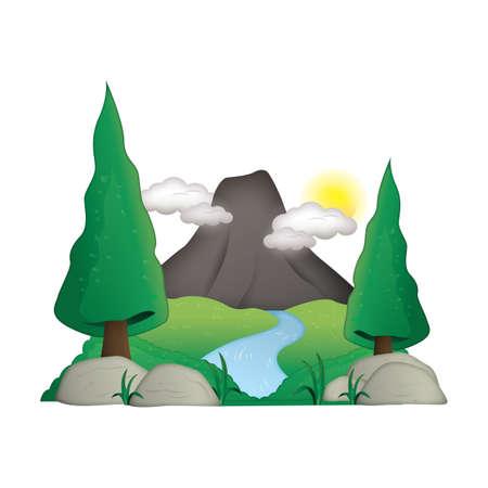 mountain stream: scenic landscape Illustration