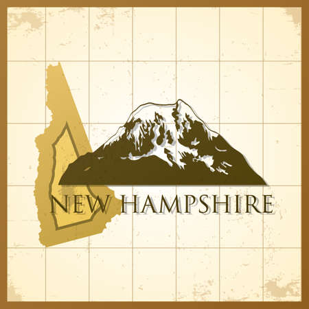 hampshire: map of new hampshire state Illustration