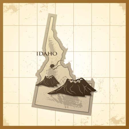 idaho: map of idaho state Illustration