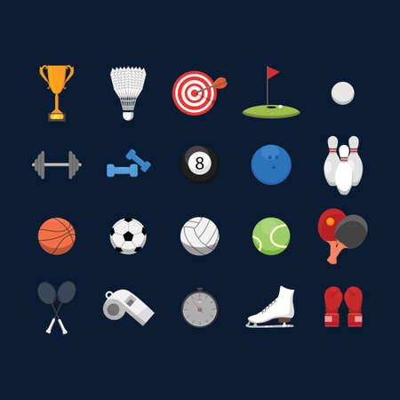 barbel: set of sports icons