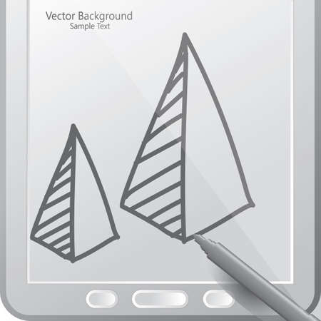 pyramid graph in a tablet with stylus Illustration