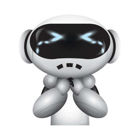 robot met huilende uitdrukking Stock Illustratie