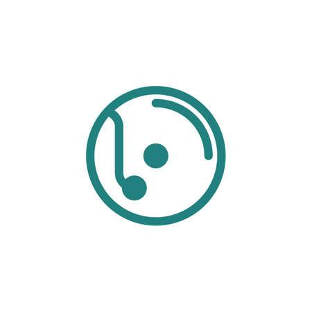 DJ turntable icon 向量圖像