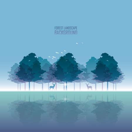 Forest landscape Illusztráció