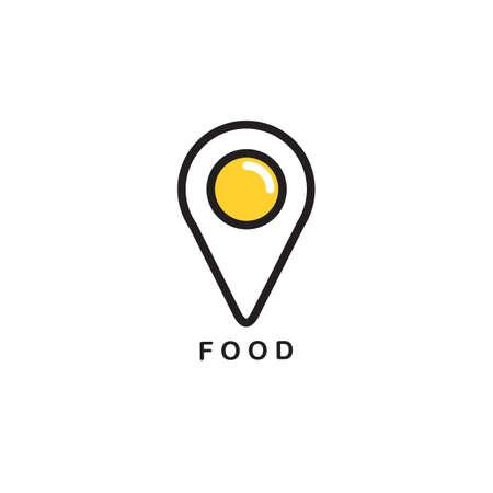 Illustration of food navigation point in egg design icon.