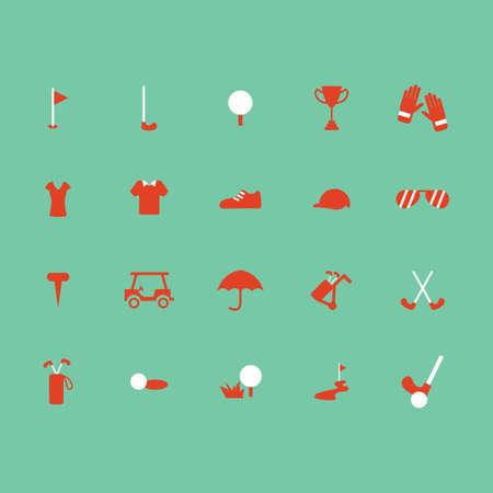 Golf pictogrammen collectie Stock Illustratie