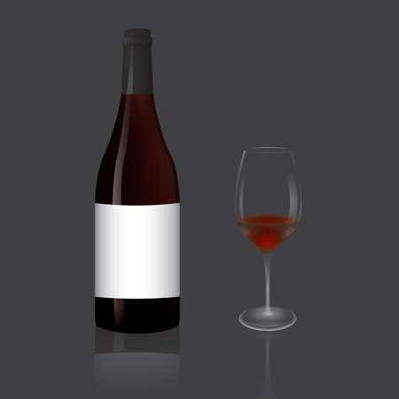 wine glass with bottle Иллюстрация