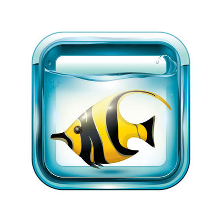 Angel fish in an aquarium illustration.