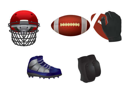 A football equipment collections, icon illustration.