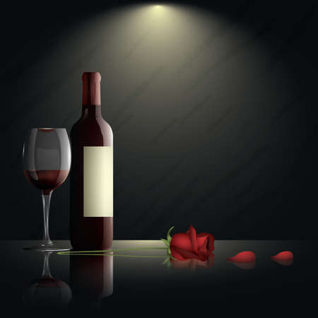 glass of wine with bottle and rose
