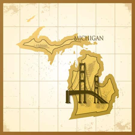 ミシガン州の地図。