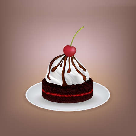 Cake with cherry topping Illustration