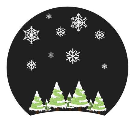 christmas trees and snowflake