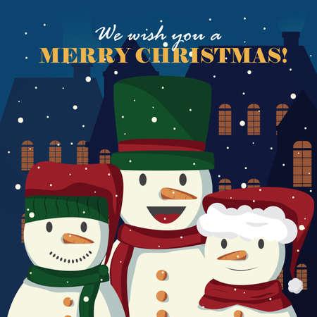 snowman wishing christmas Illustration