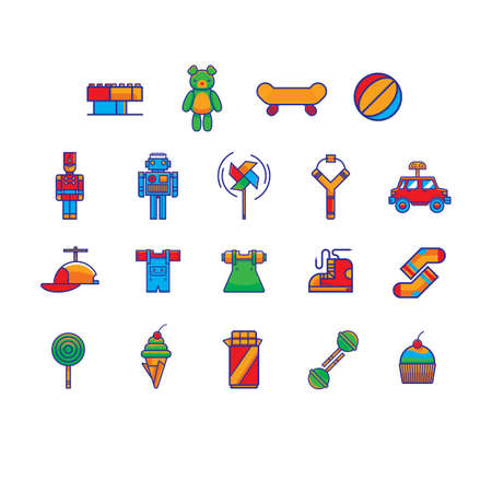 set of toys and snack icons Illustration