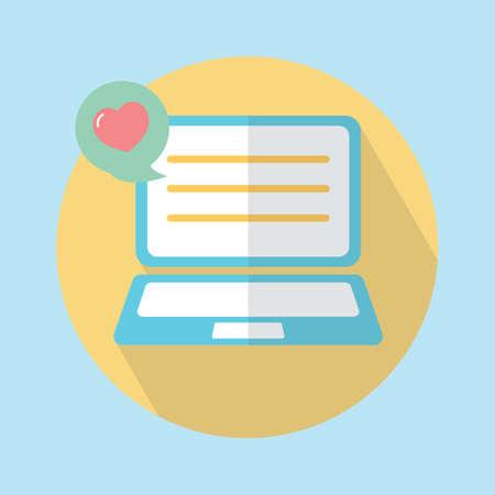 laptop with heart speech bubble 向量圖像