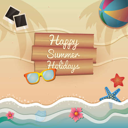 幸せな夏の休日  イラスト・ベクター素材