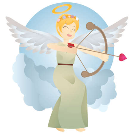 angel with bow and arrow Ilustrace