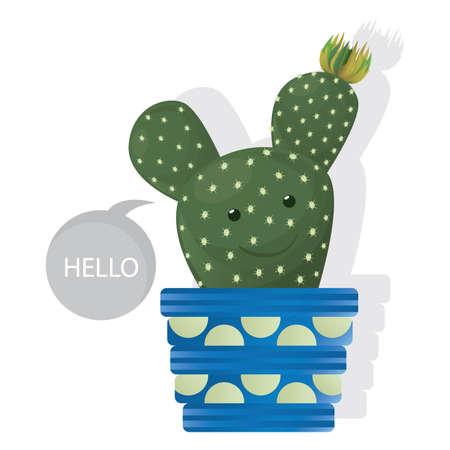 鍋にサボテンの植物