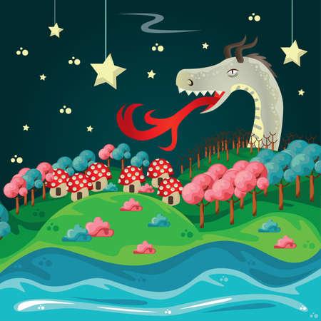 星のファンタジー壁紙庭の背景のドラゴン。