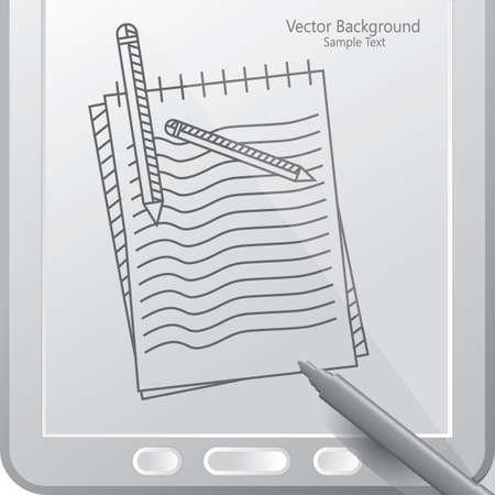 scribbling pad in a tablet with stylus
