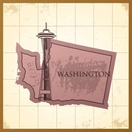 ワシントン州の地図。  イラスト・ベクター素材