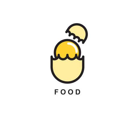 Cartoon illustration of broken egg.