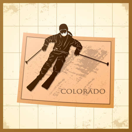 A map of Colorado state with a man on ice skating.