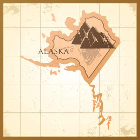 山とアラスカ州の地図。